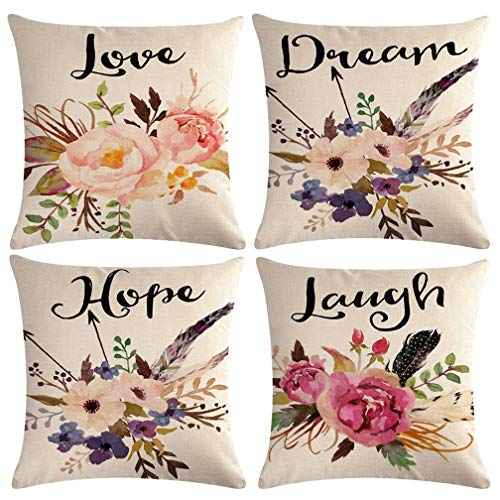 Hope Throw Pillow - Watercolor Flowers Throw Pillow Covers Floral Leaves Cushion Covers Love-Laguh-Hope-Dream Home Decorative Pillowcase 18