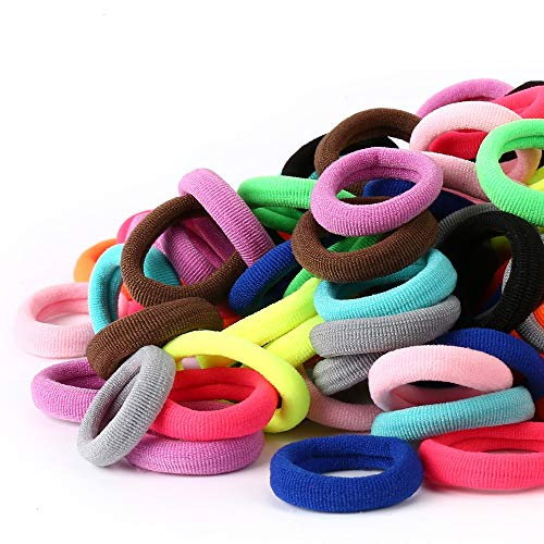 100PCS Baby Hair Ties - Girl Baby's Cotton Hair Band - Tiny Elastic Ponytail Holders for Baby Toddlers Girls Kids, 1 Inch in Diameter, Assorted Colors, by NSpring