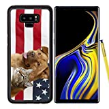 Samsung Galaxy Note9 Case Aluminum Backplate Bumper Snap Case Image ID: 4904845 Proud American Pets with US Flag in as Background Focus on cat