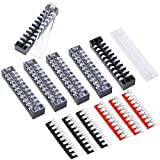 Hilitchi 12pcs 600V 15A 10 Position Double Row Screw Terminal Strip and 400V 10A 12 Postions Red/Black Pre Insulated Terminal Barrier Strip