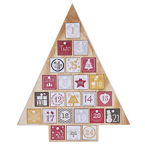 "Juegoal Countdown to Christmas Calendar 2019 Nature Wooden Tree Shape Advent Calendar with 24 Storage Drawers, for Kids, 15"" Tall"