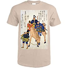 Two Japanese Men and a Foreigner Riding on a Horse Japanese Wood-Cut Print (Sand T-Shirt Large)