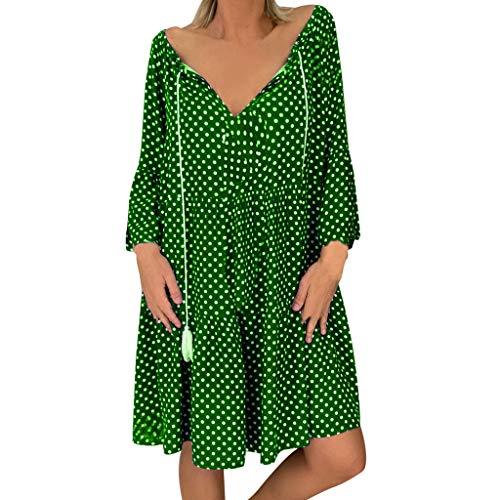 (Dresses for Women Vintage Polka Dot Tie Neck Tassel A-LIne Swing Mini Dress Long Sleeve Causal Basic T-Shirt)
