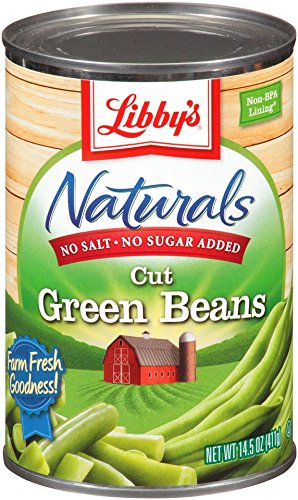 Libby's Naturals Cut Green Beans No Salt, No Sugar, 14.5 Ounce  Cans (Pack of 12)