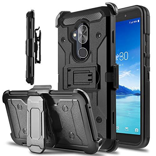 Alcatel 7 Case, Alcatel Revvl 2 Plus (2018) Case, lovpec Kickstand [Heavy Duty Protection] Swivel Belt Clip Holster Full Body Armor Protective Shockproof Phone Case Cover for Alcatel 7 Folio (Black)