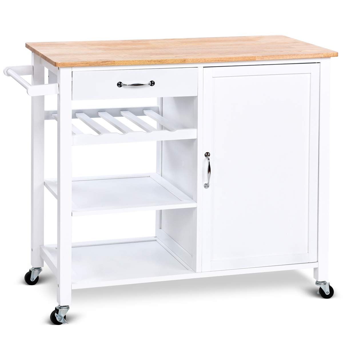 Giantex Kitchen Trolley Cart w/Wheels Rolling Storage Cabinet Wooden Table Multi-Function Island Cart Kitchen Truck (White) by Giantex (Image #4)