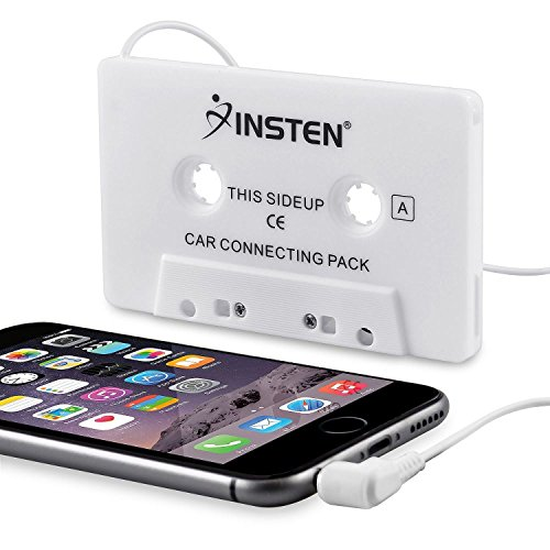 Insten Universal Car Audio Cassette Adapter Compatible with Samsung Galaxy S10/S10 Plus/S10e S6/Galaxy S9/S9+ Plus/s6 Edge Samsung Galaxy Note 4/Apple iPhone 6 Plus (5.5) HTC One M7, White