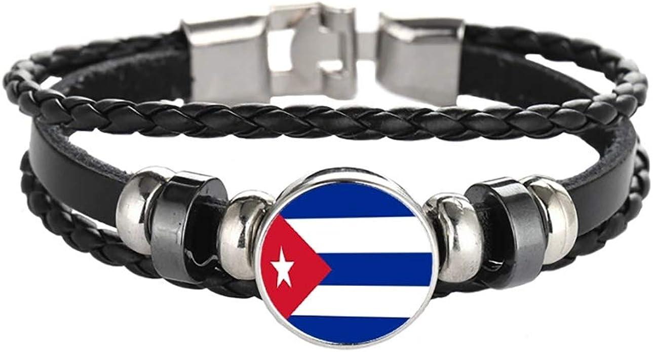 Wedare Souvenir Bandera de Cuba Pulsera Trenzada Cadena de Cuero Pulsera de Cristal Recuerdo, Pulsera Hecha a Mano de Moda para Hombre y Mujer día: Amazon.es: Joyería