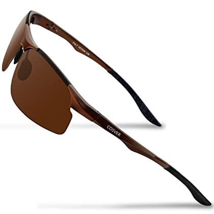 b93b12595ff COSVER Men s Polarized Sports Sunglasses for Men Driving Cycling Running  Fishing Golf Unbreakable Frame Metal Glasses 8003 (Brown)