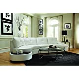 Coaster Talia Contemporary White Conversation Sectional Sofa with Built-In Table