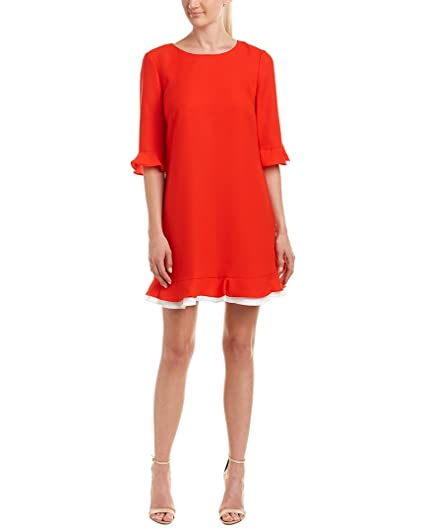 0b66c17b573 CeCe Women s Kate - 3 4 Sleeve Ruffle Fiery Red Dress at Amazon Women s Clothing  store