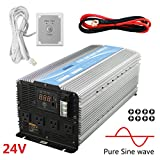 Giandel 4000W Heavy Duty Pure Sine Wave Power Inverter DC24V to AC120V with 4 AC Outlets with Remote Control 2.4A USB and LED Display