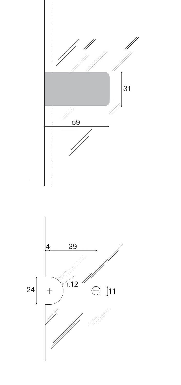 Oro Lucido Cerniera per vetri battuta esterna CF01025