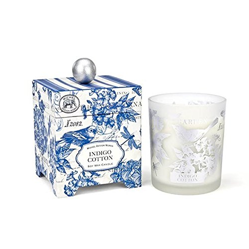Michel Design Works Gift Boxed Large Soy Wax Candle, Indigo Cotton, 14 - Indigo Wax