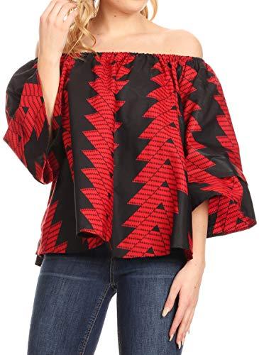 - Sakkas 19166 - Oni Women's Off The Shoulder African Ankara Wax Print Blouse Top Oversize - 114-RedBlack - OS
