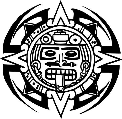 Mandy Graphics Tribal Aztec Art Mayan Vinyl Die Cut Decal Sticker for Car Truck Motorcycle Windows Bumper Wall Home Office Decor Size- [6 inch/15 cm] Wide and Color- Gloss White