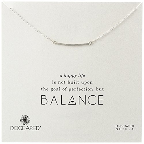 Dogeared Balance Medium Square Bar Silver Chain Necklace, (Medium Square Bar)
