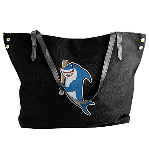 Shoulder Handbag Shark Bat Women's Holding Bag Tote Hand Black Large Baseball Canvas qASIxTtR