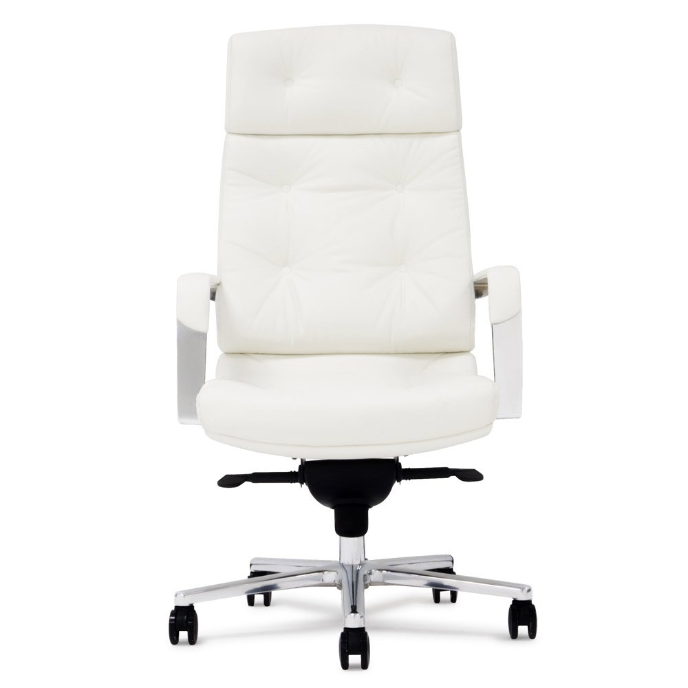 Perot Genuine Leather Aluminum Base High Back Executive Chair - White