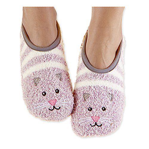 Snoozies Womens Fuzzy Animal Mary Jane Cat Socks