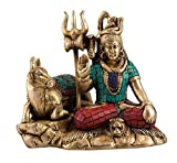 Shiva Idol Nandi Figurine Hindu God Brass Sculpture Shiva Nandi Statue Diwali Decor Gifts