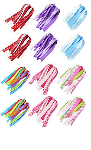 HipGirl Boutique Girls Hair Bow Ties Ponytail Holders, No Crease Ouchless Stretchy Elastic Styling Tool Accessories (6 Pairs Handmade Ponytail Streamer)