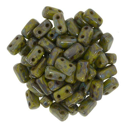 Czechmate 2mm X 6mm Brick Glass Czech Two Hole Bead - Opaque Olive Picasso (50 beads)