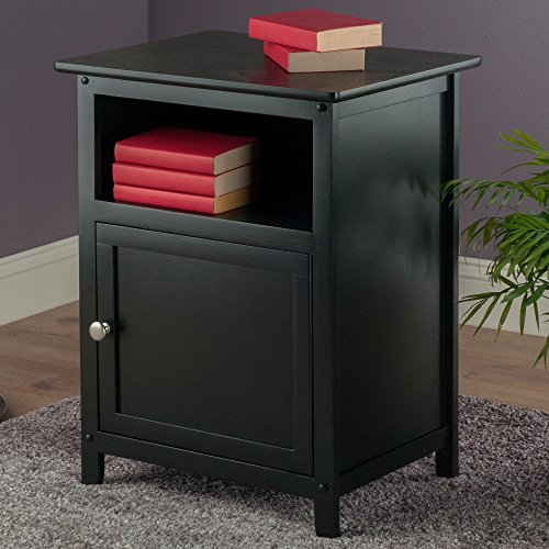 Winsome Wood End Table/Night Stand With Door And Shelf, Black  (54fa037d32fdf28a0ab8db6b85859084)   PCPartPicker