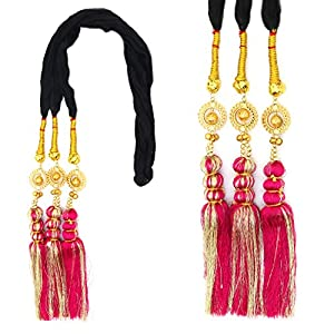 Rapidsflow® Tassles Hair Extensions For Women And Girls/Parandi Used As Braid/Parandi Choti Hair For Women (Pink2)