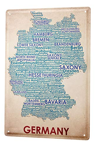 Tin Sign World Trip Map of Germany Decorative Wall Plate 8X12