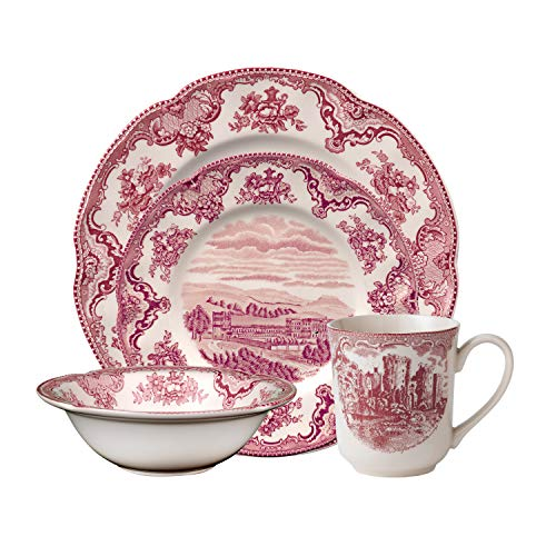 Brothers Castle Johnson - Johnson Brothers 40034957 Old Britain Castle Dinnerware Set, 4 Piece, pink
