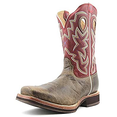 Twisted X Boots Men's MHM0016,Oiled Bomber/Red Leather,US 8 D