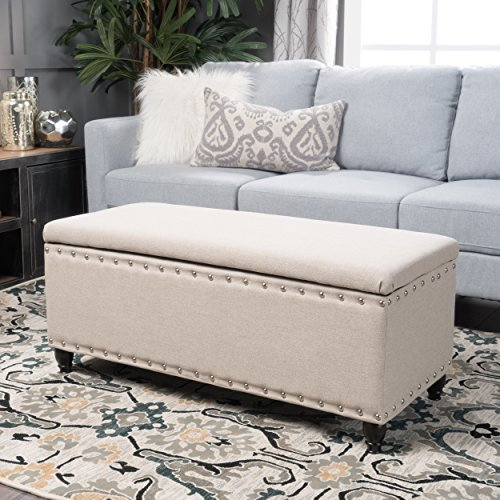 Christopher Knight Home 300238 Living Dynasty Fabric Storage Ottoman (Wheat) D x 42.00