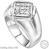 Fathers Day Gift Mens Classy and Elegant Sterling Silver .925 Ring with Invisible Set Look Princess-Cut Cubic Zirconia (CZ) Stone, Platinum Plated. By Sterling Manufacturers