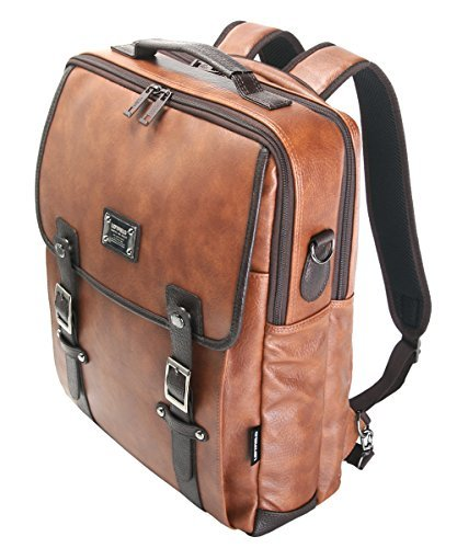 Tan 15 Laptop Backpack Messenger Tote Bags Synthetic Leather - Backpack Leather Tech