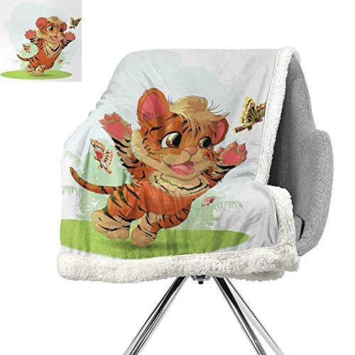 (ScottDecor Cartoon Digital Printing Blanket,Cub Playing with Butterflies in The Meadow Joyful Lively Baby Tiger Cat,Orange Cream Green,Lightweight All-Season Blanket W59xL31.5 Inch)