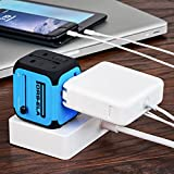 PORS-ELA International Travel Power Adapter with 2.4A Dual USB Charger & Worldwide AC Wall Outlet Plugs for UK, US, AU, Europe & Asia - Built-in Spare Fuse, Gift Pouch - Blue