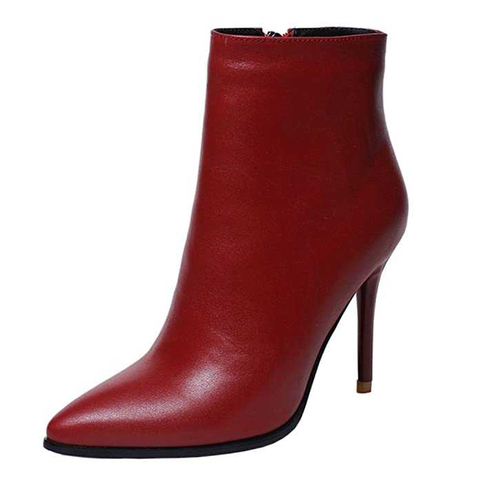 VOCOSI Women's Red Leather Ankle Boots Thin Heels Pointy Toe Zipper Daily Wear Booties Red 8 US