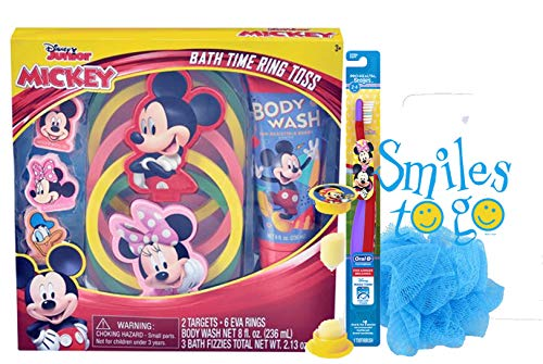 Bath Toss (Mickey Mouse 15pc Bath Time Activity Set! Ring Toss Game, Bath Fizzies, Body Wash, Bath Scrubby, Toothbrush & Brushing Timer! Plus Dental Gift Bag!)
