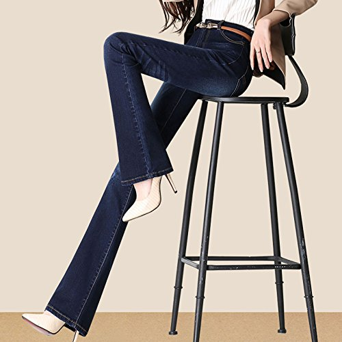 Ladies Taille Femmes Jeans pour ADEMI Stretchy Blue4 Jeans Zip Trousers 43 Haute Pants Flare Up qc55WYC