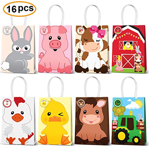 Farm Animal Party Favor Bags,Barnyard Birthday Gift Treat Goody Bags For Farm Animal Party Supplies Pack of - Animals Farm Barnyard