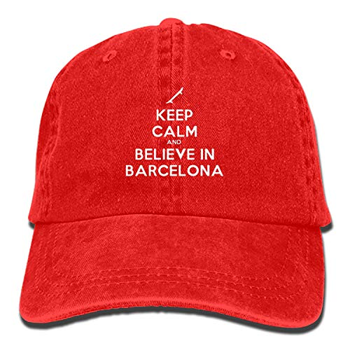 Keep Calm and Believe in Barcelona Vintage Adjustable Jean Cap Gym Caps for - Barcelona Jean