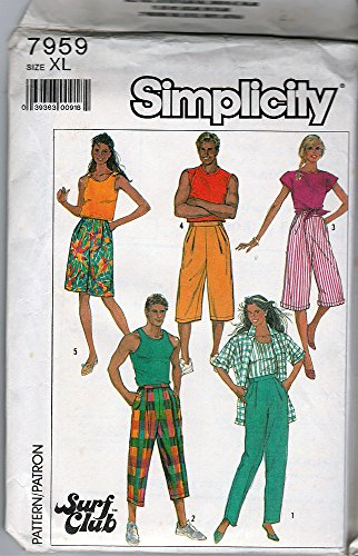 - Simplicity 7959 ©1987 Misses' Men's and Teens Loose Fitting Pull-on Baggies; Size XL 36-39