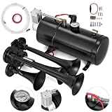 Bestauto 4 Trumpet Train Air Horn Kit Fits Almost Any Vehicle, Truck, Car, Jeep or SUV (3L 12V 4Horn, 3L 12V 4Horn Black)