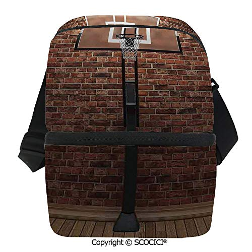 (SCOCICI Cooler Bag Old Brick Wall and Basketball Hoop Rim Indoor Training Exercising Stadium Picture Print Insulated Lunch Bag for Men Women for Kayak,Beach,Travel,Work,Picnic,Grocery )