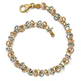 Solid 14k Gold Tri-color Polished & Textured Fancy Link Bracelet 7.5'' - with Secure Lobster Lock Clasp (7mm)