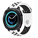 Gear Sport Band 20mm, KADES Soft Silicone Band 20mm Replacement Strap for Gear Sport/ Gear S2 Classic Smart Watch (Large, White/Black)