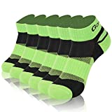 Tennis Socks, Gotops Moisture Absorb Breathable Sporty Mountain Climbing Socks for Men,Green/Black,Large,6 Pairs