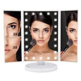 tri fold mirror with led lights Lighted Makeup Mirror - Tri-Fold White Vanity Mirror with Bright Dimmable LED Lights - This Cosmetic Mirror Has 2X and 3X Magnifying Mirrors - Perfect For Your Bathroom, Bedroom or Travel