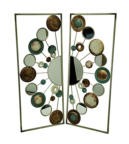 Circle Scatter Two Piece Metal and Mirrors Wall Art Sculpture Set by Three Hands